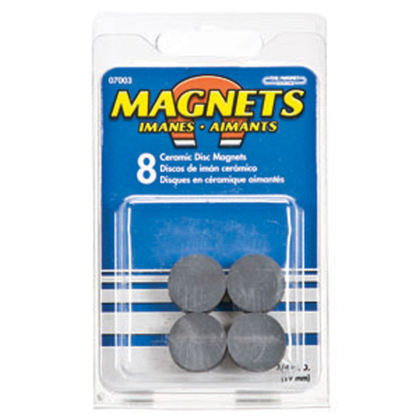 """Ceramic Disc Magnets, Black, 3/4"""" Dia - 1 Pkg"""