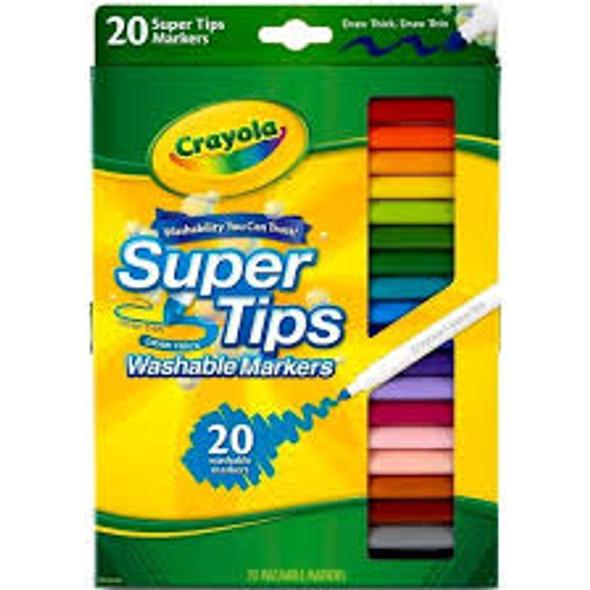 Crayola Super Tip Markers, Assorted - 20 ct