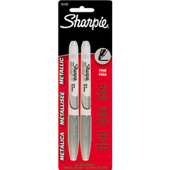 Sharpie Metallic Silver Permanent Marker, Silver, 2Ct. - 1 Pkg
