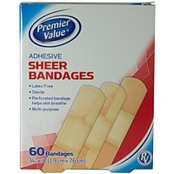 Premier Value Sheer Plastic Bandage 3/4X3 - 60ct
