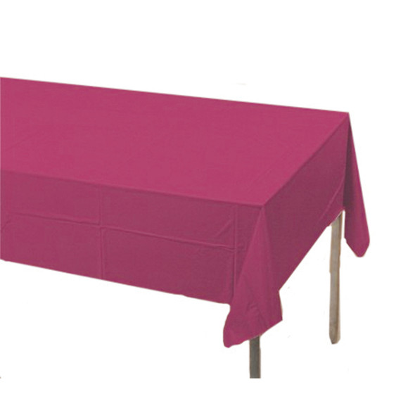 "Solid Color Plastic Tablecover, Burgundy, 54X108"" - 1 Pkg"