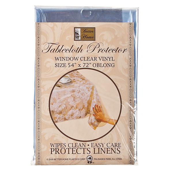 """Clear Vinyl Tablecloth Protector 54""""X72"""", Clear - 1 Pkg"""