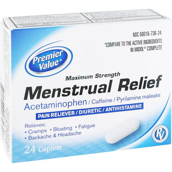 Premier Value Max. Str. Menstrual Relief Caplets - 24ct