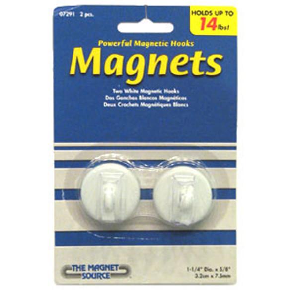 """Magnetic Hooks, White 2Ct. 1 1/4"""" - 1 Pkg"""