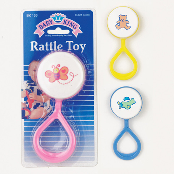 Printed Rattle W/Handle, Toy, Asst - 1 Pkg