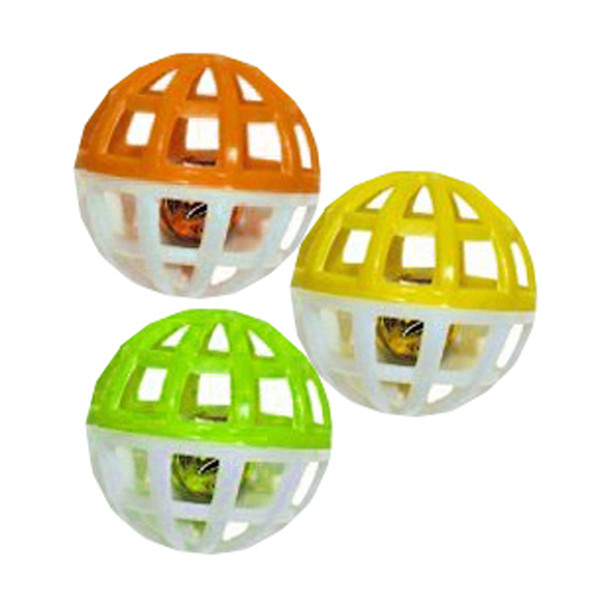 Cat Toy - Small Play Balls w/Bell, 3 Pk