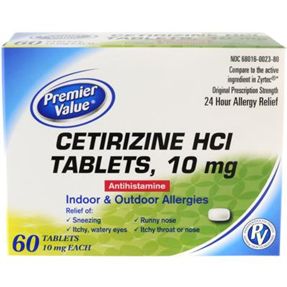 Premier Value Cetirizine 10Mg Tablets - 60ct