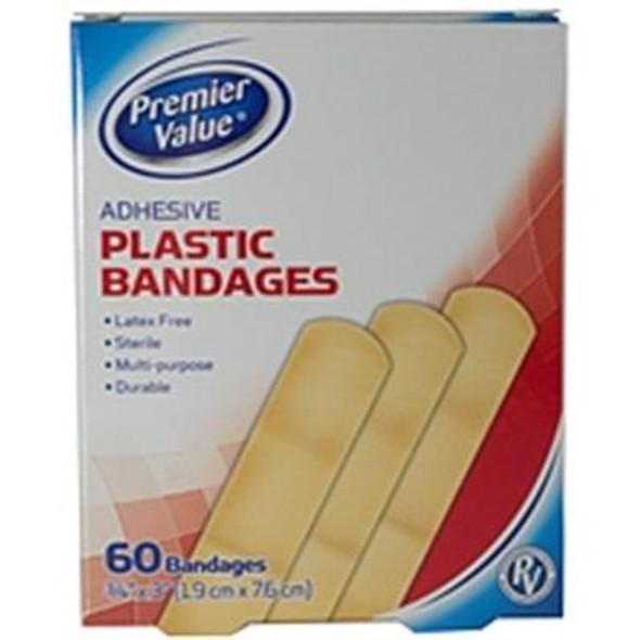 """Premier Value Plastic Bandage 3/4""""X3"""" - 60ct"""