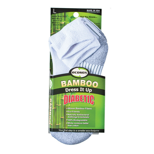 Diabetic Bamboo Quarter Sock, White/Grey - 1 Pkg