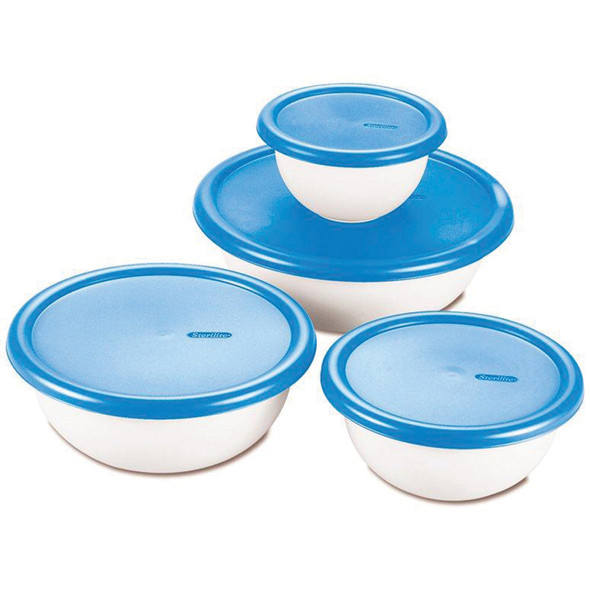 Nesting Plastic Bowl Containers, White/Blue Lids, 1.5-5 Cup - 1 Pkg