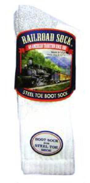 Men's Steel Toe Boot Socksize 6-12.5 White/Grey, White/Grey, 6-12.5 - 1 Pkg
