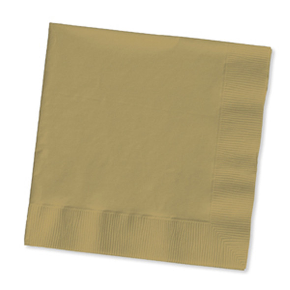 Solid Color Beverage Napkin, Glittering Gold, 50 Ct - 1 Pkg