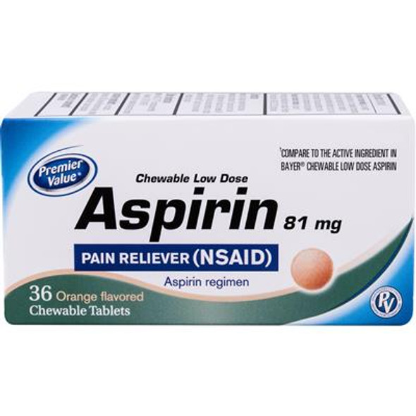 Premier Value Chewable Aspirin 81Mg Orange - 36ct