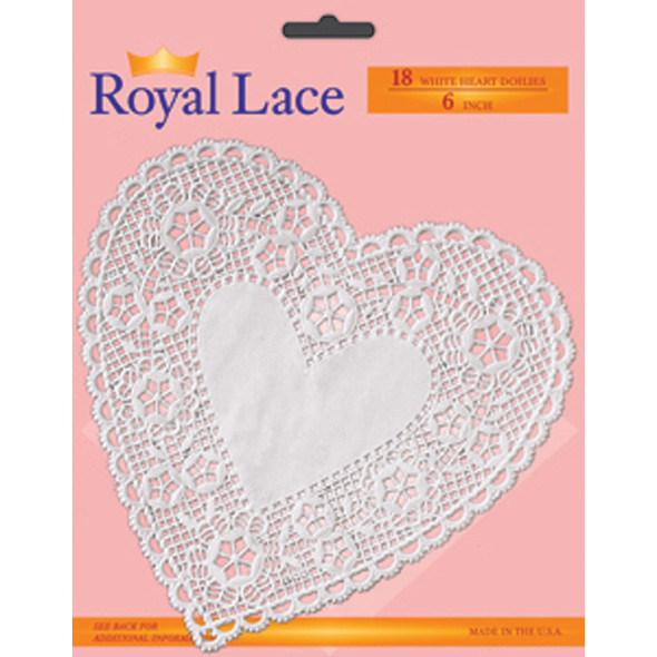 "Royal Lace Paper Lace Heart Doilies, White, 6"" - 1 Pkg"