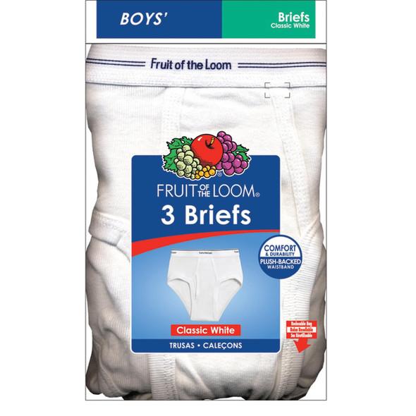 Boys Briefs 3-Pk Underwear, Small(6-8), White - 1 Pkg
