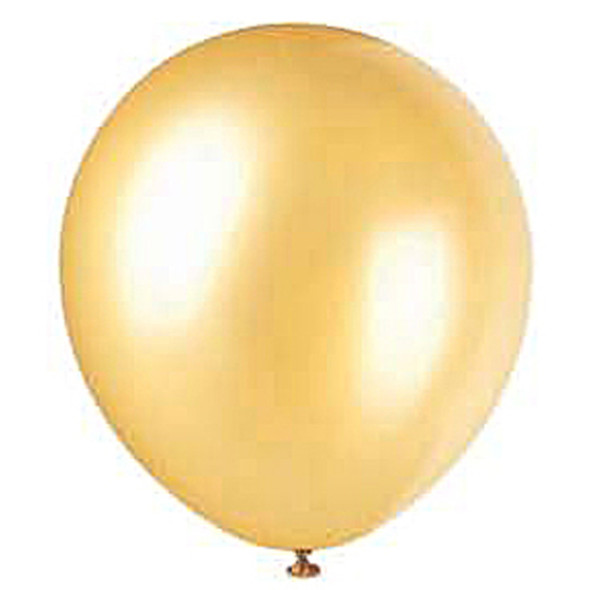 """Metallic/Pearlized Balloons, Pearlized Gold, 12"""" - 8 ct"""