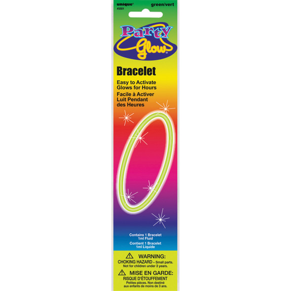 """Party Glow Bracelet Party Favors, Green, 8"""" - 1 Pkg"""