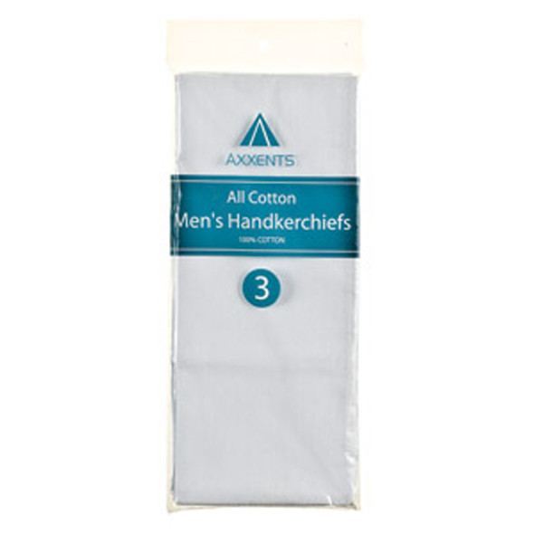 "Men's Cotton Handkerchief 3-Pack, White, 16""X16"" - 6 Pkgs"