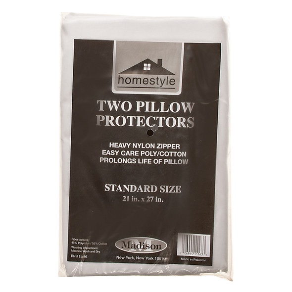 "Pillow Cover With Zipper - 2 Pack, 21""X27""/Standard, White - 1 Pkg"