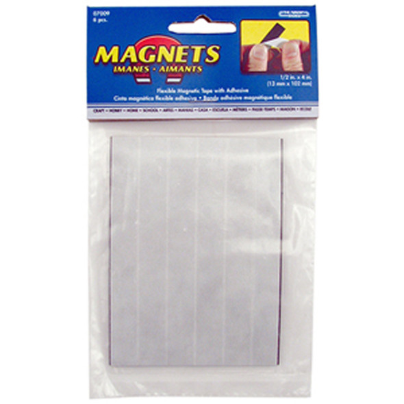 "Flexible Magnetic Strips, Black, 1/2"" X 4"" - 1 Pkg"