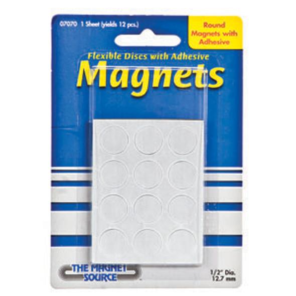 "Round Flexible Disc Magnets, Black, 1/2"" - 1 Pkg"