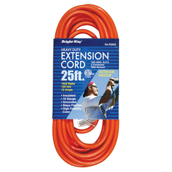 Heavy Duty Orange Extension Cord, 25' - 1 Pkg