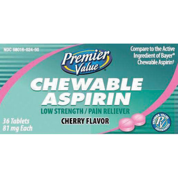 Premier Value Chewable Aspirin 81Mg Cherry - 36ct