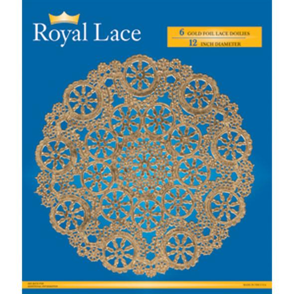 """Royal Lace Foil Lace Round Doilies, Gold, 12"""" - 1 Pkg"""