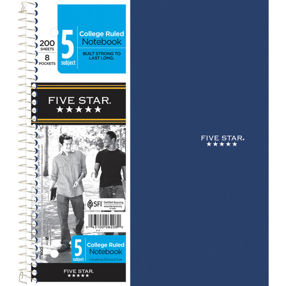"Five Star 5 Subject Notebook, College Ruled 200Ct. 8.5X11"" - 1 Pkg"