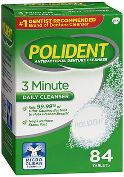 Polident Antibacterial Denture Cleanser Tablets 3 Minute - 84 ct