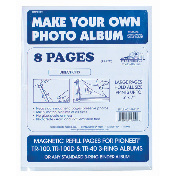Magnetic Photo Album Refills, Clear, 8 Pg - 1 Pkg