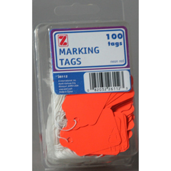 Marking Tags- String, Fluorescent Red - 1 Pkg