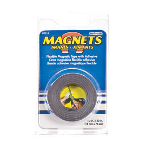 "Magnetic Strip W/Adhesive Back, Black, .5X30"" - 1 Pkg"
