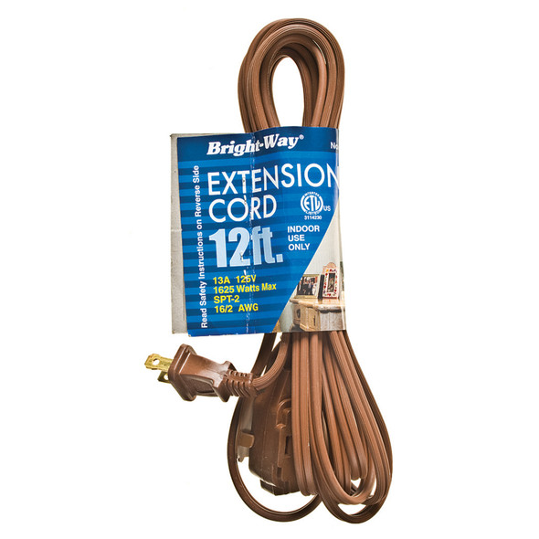 Extension Cord 12', Brown - 1 Pkg