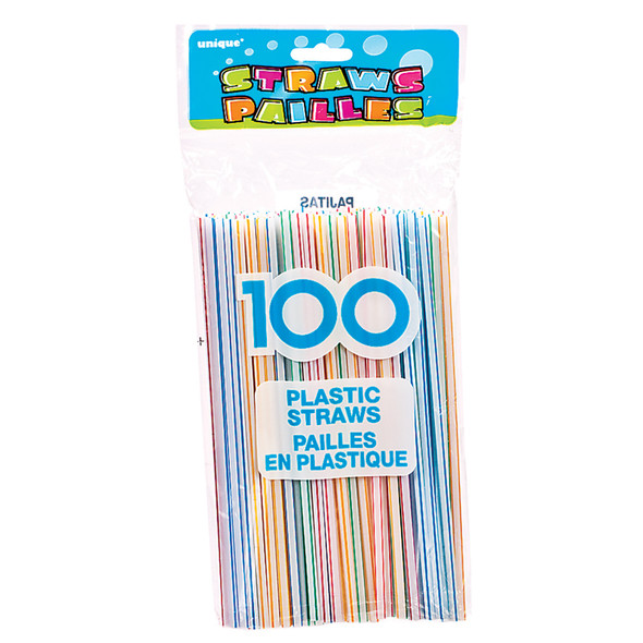 Plastic Straws, White W/Red Stripe, 100 Ct - 1 Pkg