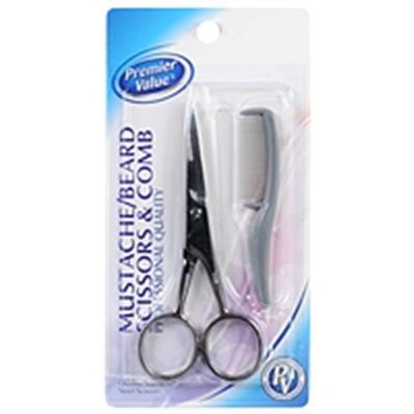 Premier Value Mustache Scissors & Comb - 1ct