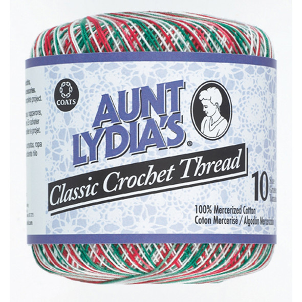 Aunt Lydia's Classic Crochet Thread, Shaded Christmas, 300 Yds. - 3 Pkgs