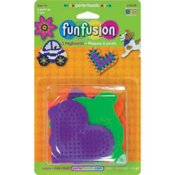 Fun Fusion Small Fun Shaped Pegboards, Perler Beads, Assorted, 5 Ct - 1 Pkg