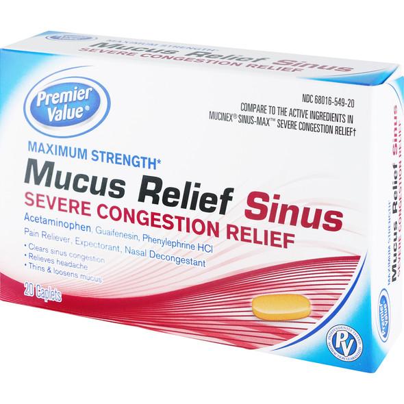 Premier Value Mucus Relief Sinus - Severe Congestion Relief Caplets - 20ct