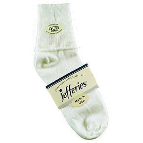 Ladies Cotton Cuff Anklet Sock, White - 1 Pair