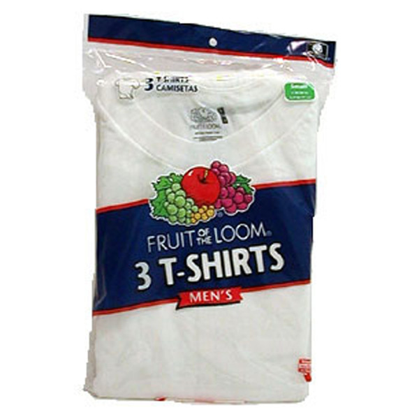 Men's White Crew Neck T-Shirts 3-Pack, White, Large - 1 Pkg