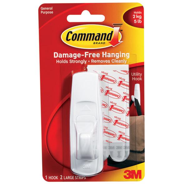 Command Adhesive Utility Hooks, White, Large - 1 Pkg