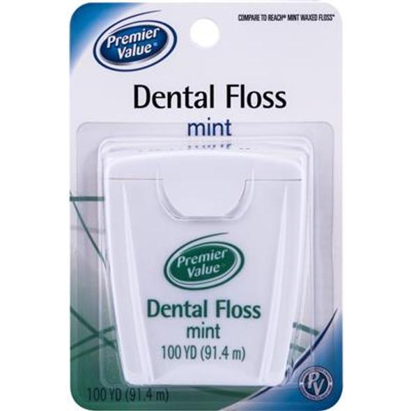 Premier Value Dental Floss Wax Mint - 100 yd.