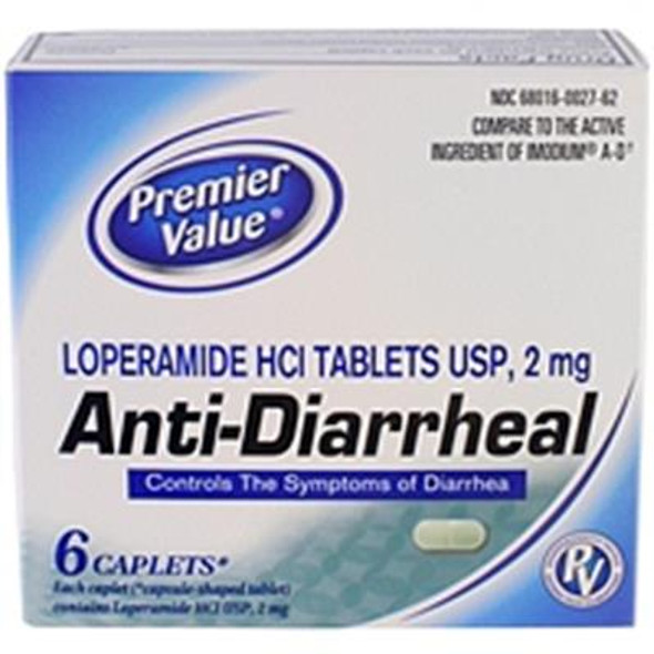 Premier Value Anti-Diarrheal Caplets - 6 ct