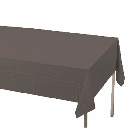 "Solid Color Plastic Tablecover, Black, 54X108"" - 1 Pkg"