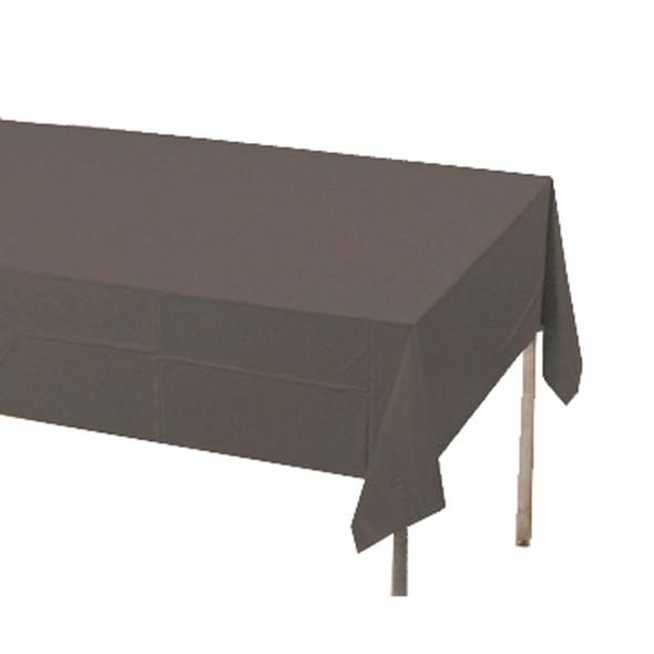 "Solid Color Plastic Tablecover, Black, 54X108"" - 1 Pkg"