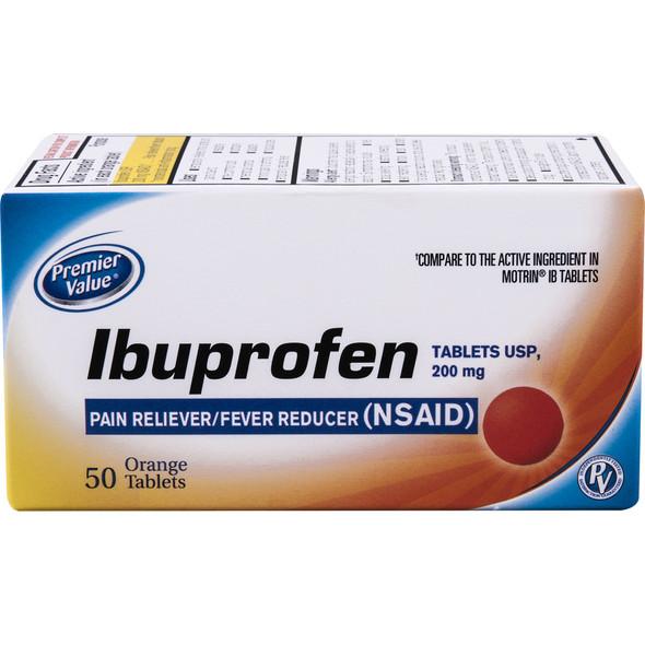 Premier Value Ibuprofen Tablets Orange - 50ct