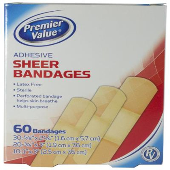 Premier Value Sheer Plastic Bandage Asst - 60ct