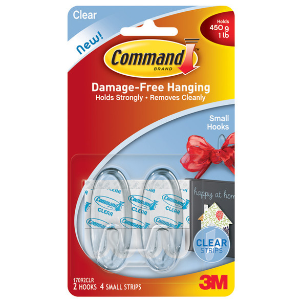 Command Adhesive Small Hook, Clear, Small - 1 Pkg