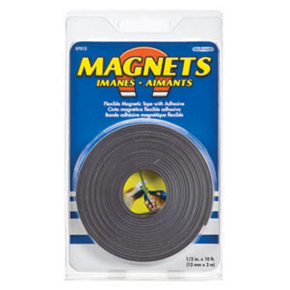 "Magnetic Strip W/Adhesive Back, Black, .5""X10' - 1 Pkg"